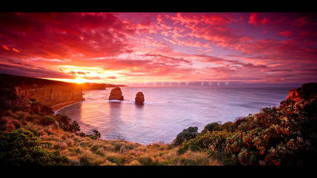 Sunrise Over The Apostles by CainPascoe