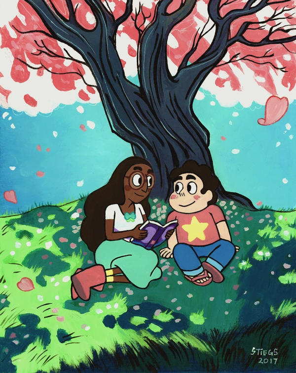 "This piece is a gift for my friend who wanted Connie and Steven reading under a tree. Pearl's tree seemed appropriate. It's 8x10"" acrylic on illustration board.  Disclaimer: ""Steven Universe"" ..."