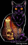 Halloween Cat with Skull Candle
