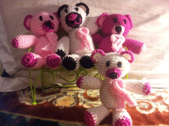 breast cancer bear family by bordumdrawings