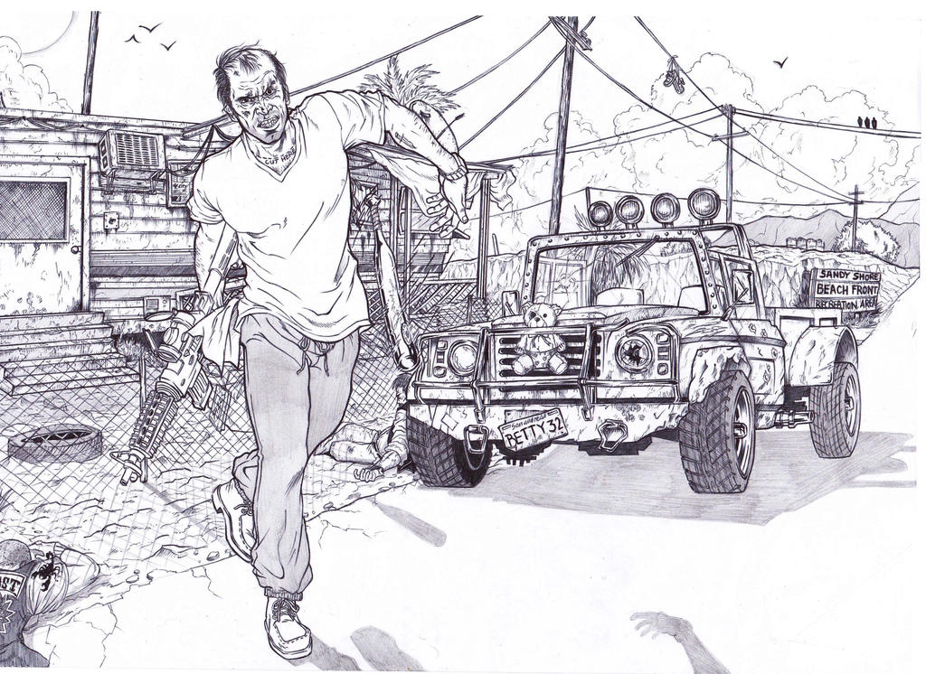 Gta 5 Trevor Philips By Bigdadybear On Deviantart Gta 5 Coloring Pages