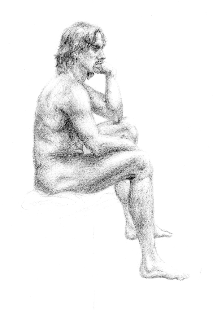 Seated Male Nude by Toby-Chan