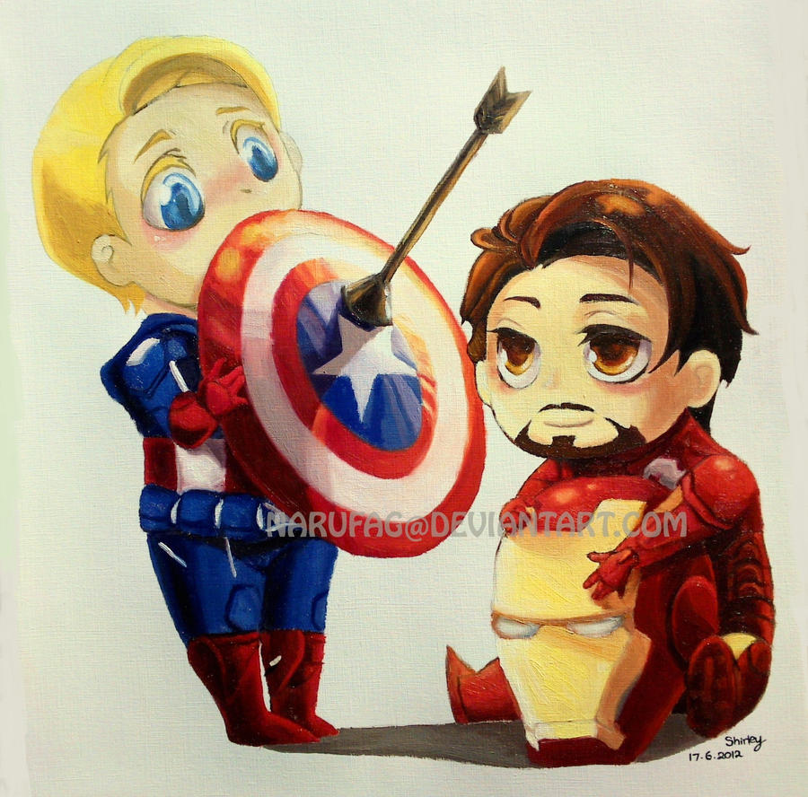 Chibi Captain America and Iron Man by narufag