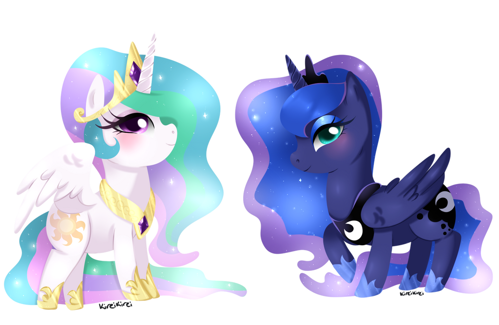 Cheeb Princess Celestia + Luna by kireikirei