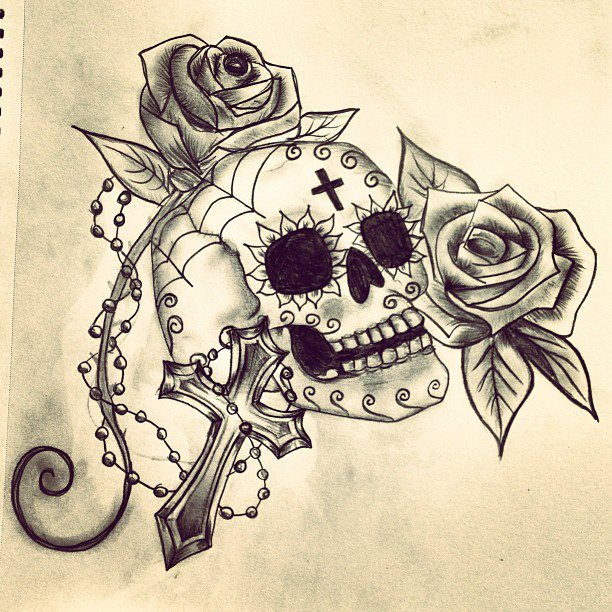 Drawings Of Roses And Crosses