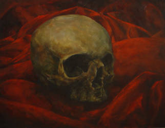 Skull Oil on Canvas 38x48 2006-2012 by MalDuDepart