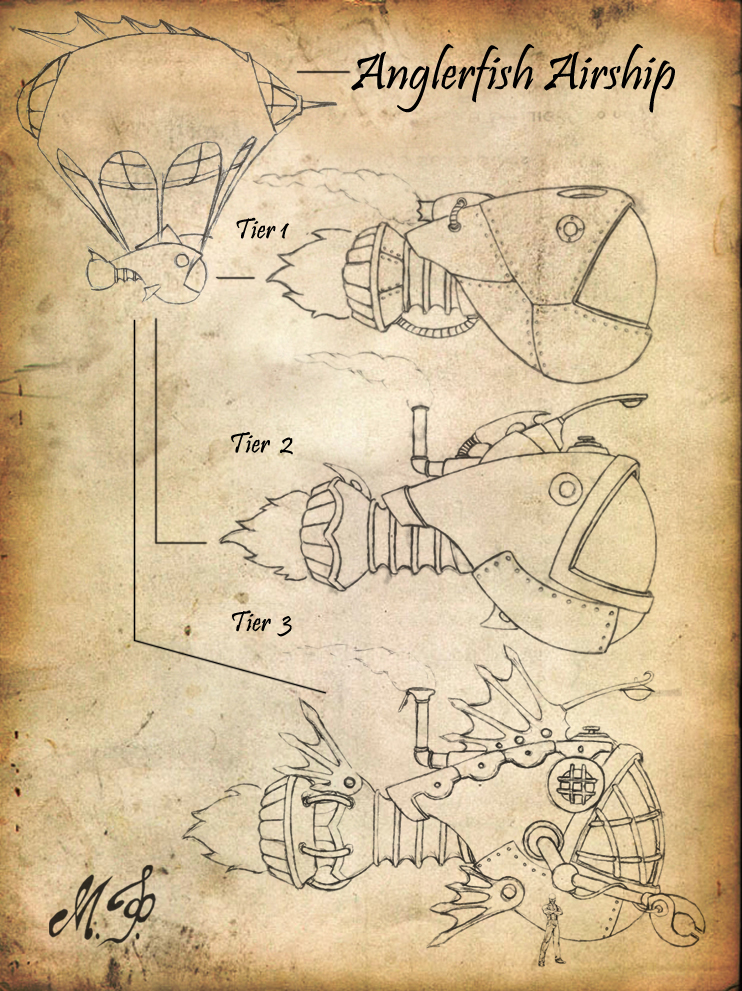 Steampunk Airship Sketch by MalDuDepart