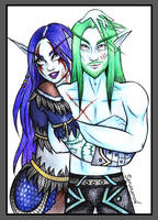 Night Elf couple (Commission) by Samaramon