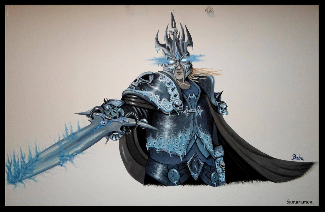 My first mural: The Lich King! (Arthas Menethil) by Samaramon