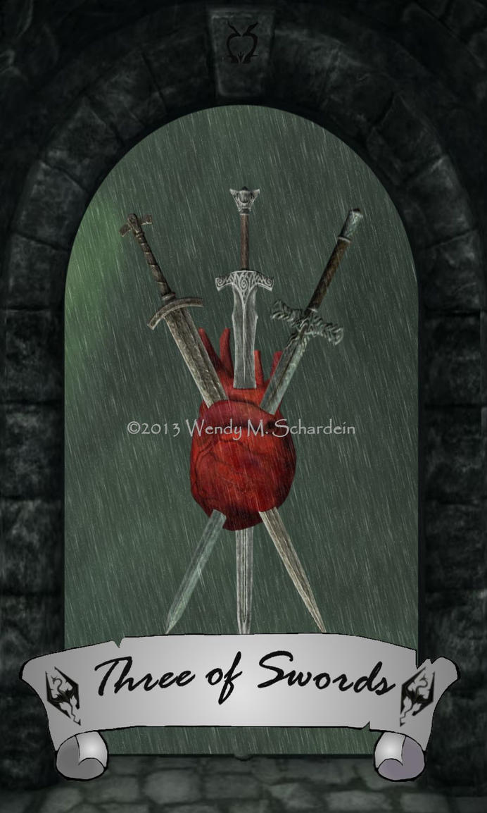 Skyrim Tarot - Three of Swords by Whisper292