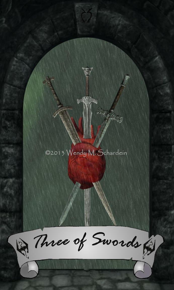 Skyrim Tarot - Three of Swords by Whisper292