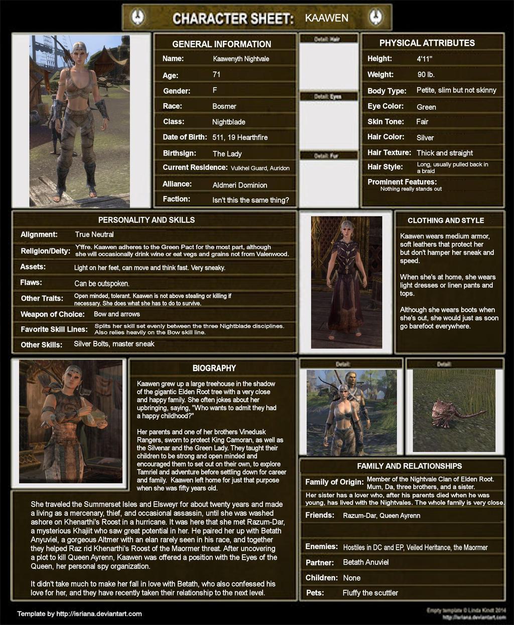 Kaawen Character Sheet by Whisper292