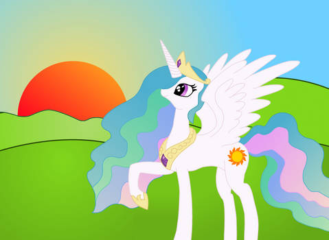 Celestia raising the sun (vectored)