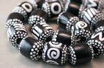 Hand Painted Wood Tribal Beads in Black and White