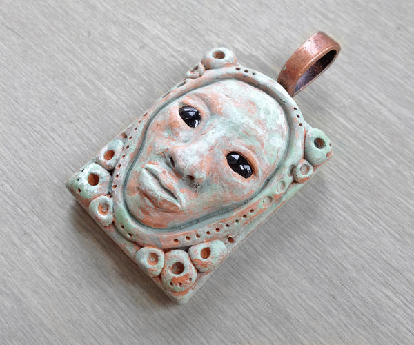 Verdigris Clay Face Pendant by OneUrbanTribe