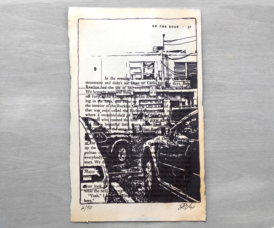 Cityscape Ink drawing printed on 'On the Road' by OneUrbanTribe