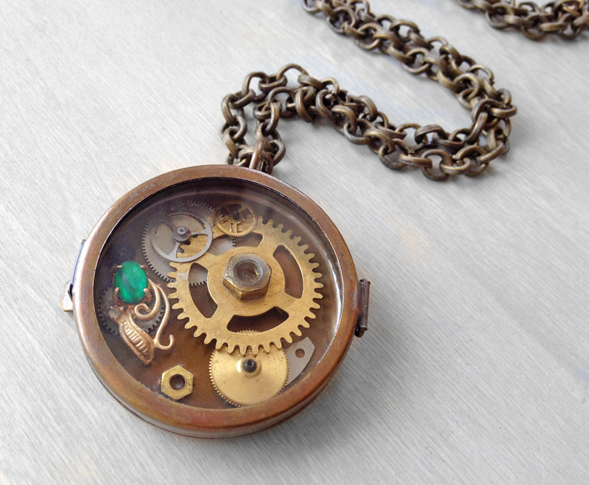 Steampunk Locket Shadowbox Pendant Necklace by OneUrbanTribe