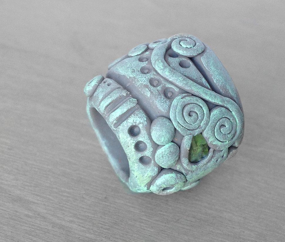 Polymer Clay Dread Bead Inlaid 1 by OneUrbanTribe