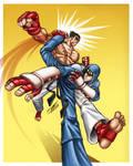 spin kick, jin vs kazuya