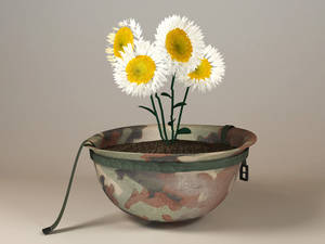 Soldier's Helmet with Daisies
