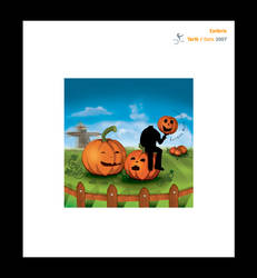 A ghost in a pumpkin field