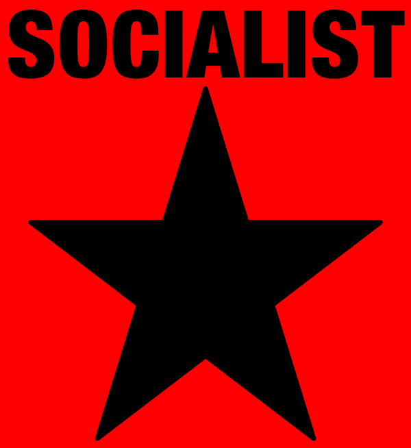 SOCIALIST-black-on-red-Tshirt by scart