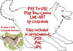 PAY TO USE Play Bow Canine Line-Art