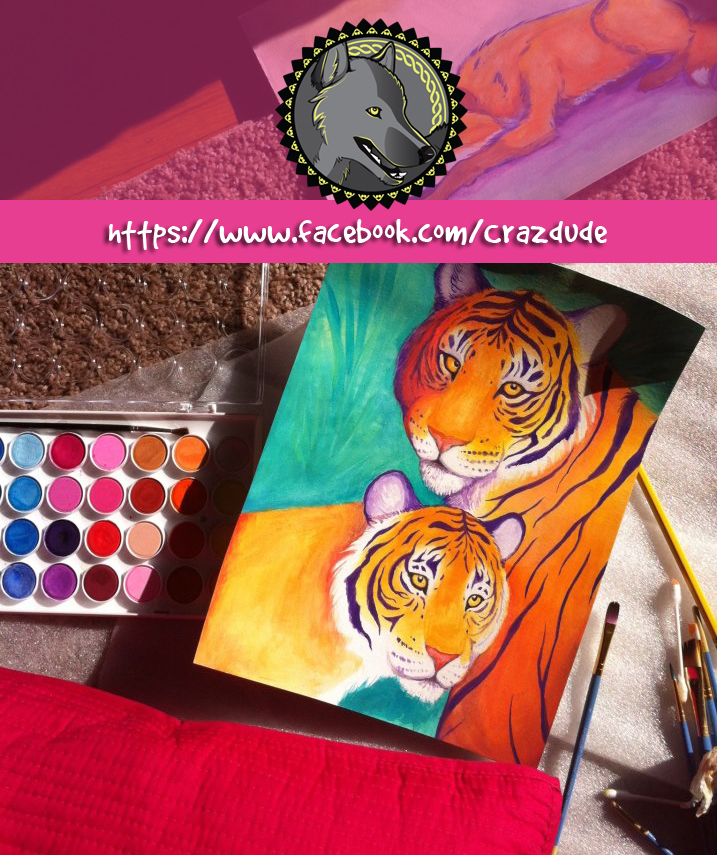 WIP Tiger painting in the sun + Facebook by Crazdude