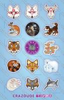 Crazdude Animal Sticker Sheet 2015 by Crazdude