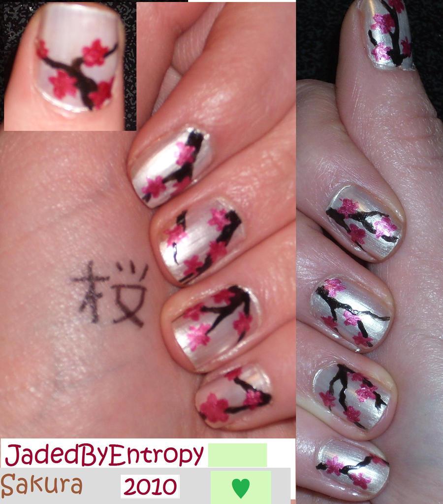 sakura nail art by jadedbyentropy traditional art body art cosmetic ...