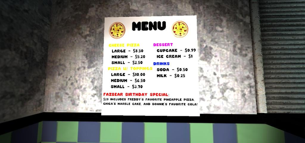 freddy fazbear s pizzeria menu by infernox ratchet on deviantart