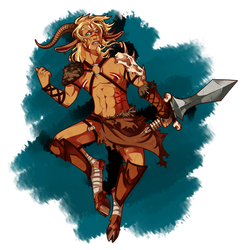 Barbarian faun by KuroKomui