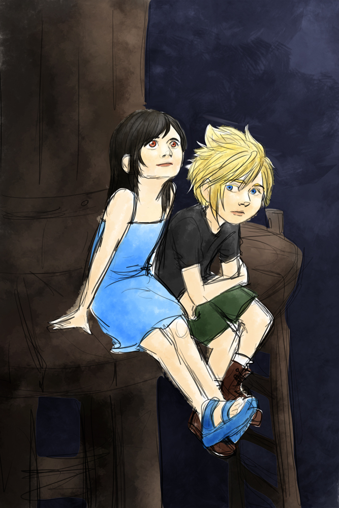 Remake of Cloud and Tifa: The Watertower by librachik