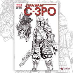 C-3PO Original Artwork Sketch Cover by DavidJacobDuke