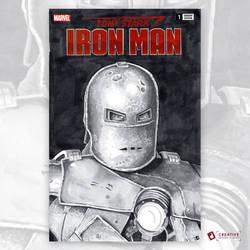 Tony Stark Iron Man Original Artwork Sketch Cover by DavidJacobDuke