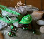 Green Tree Python Pendant and Earrings Set
