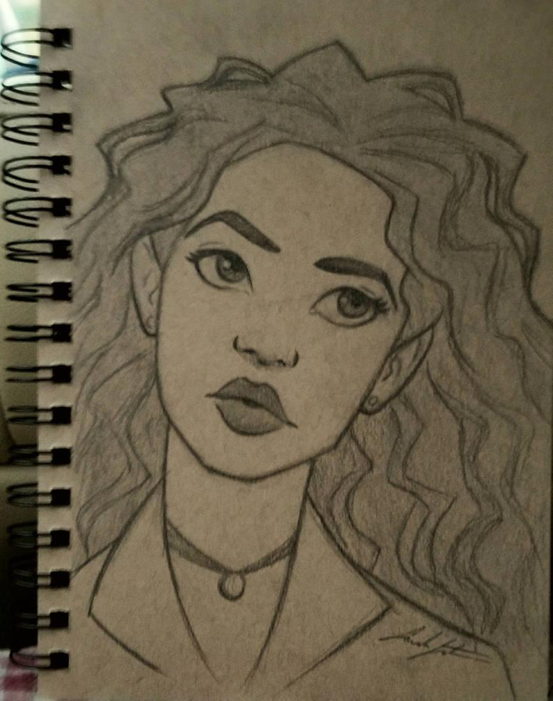 Pencil sketch woman by sarahsatrun