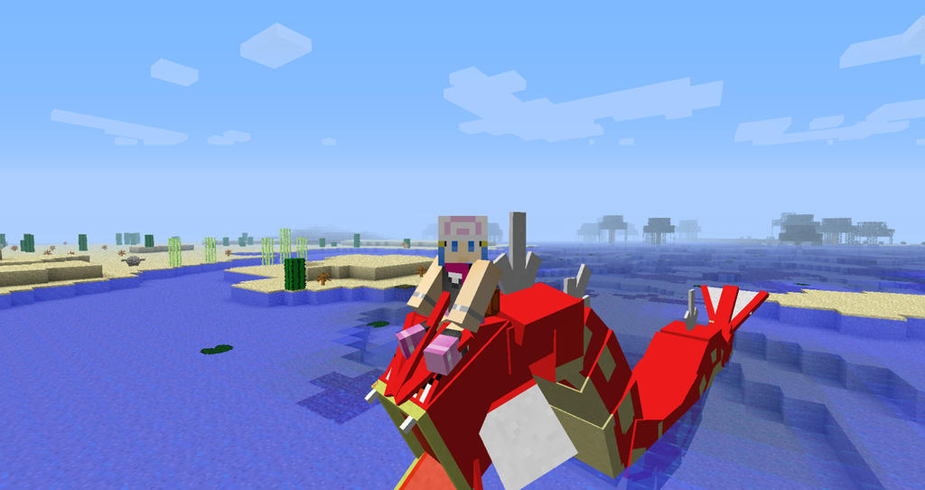 Pixelmon Minecraft Picture Series- Riding Gyarados by mcmurp on