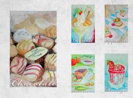 Appetizers, Main dishes and Desserts Water Color