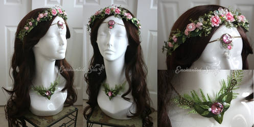 Pink Faerie Crown, Circlet, and Necklace Set by enchantedsea