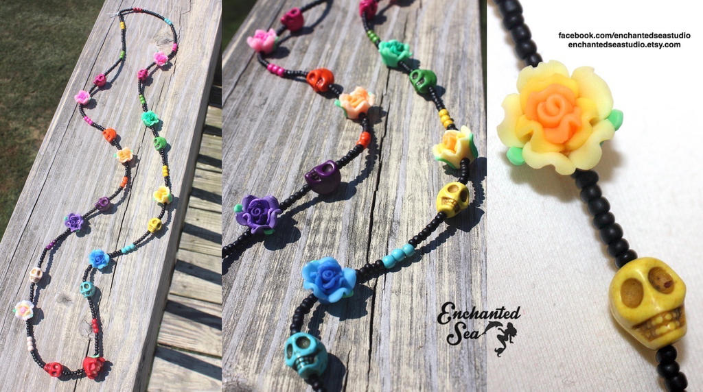 Day of the Dead inspired necklace - For Sale by enchantedsea