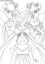 Line Art: queens of the moon by amethyst-rose