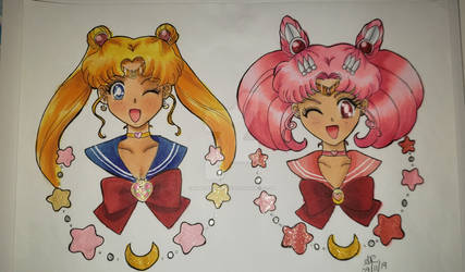 moon and chibi-moon
