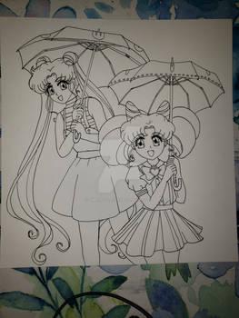 [Line art] Umbrellas: Usagi and Chibi-usa