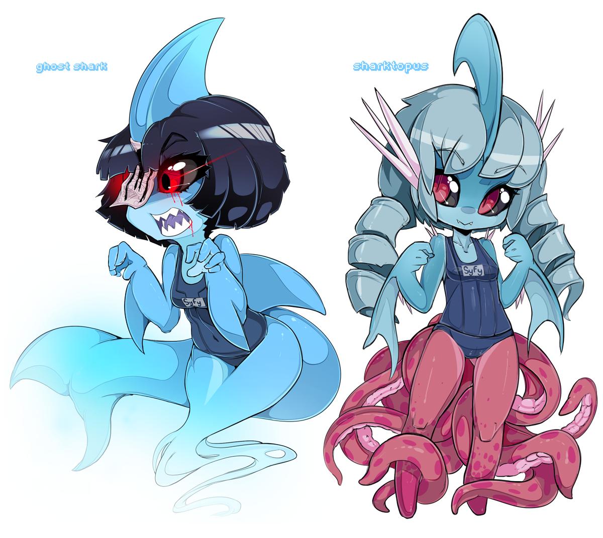 Syfy Sharks - Ghost Shark / Sharktopus by Slugbox