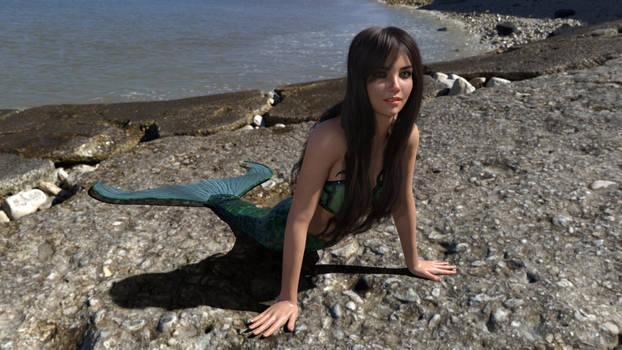 Saskia's first time mermaiding 2