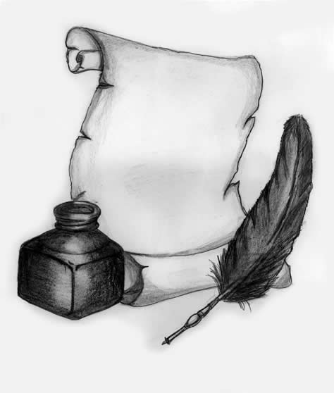 quill pen and scroll - photo #43