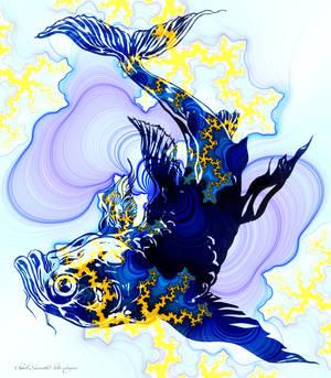 Blue Carp Fish in Fractal