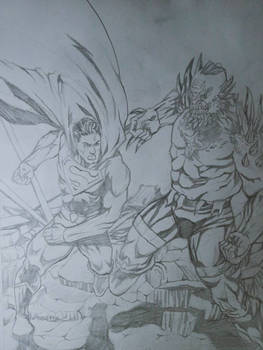 penciling Superman vs doomsday