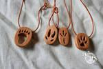 Foot prints in wood